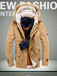 Men's Hoodie Coats & Jackets , Nylon / Polyester Long Sleeve Casual Button Winter / Fall other