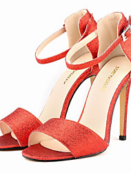 Women's Shoes Glitter / Leatherette Stiletto Heel Heels Sandals Party & Evening / Dress / Casual Black / Red