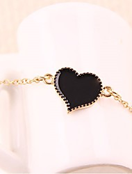 Fashion Women Black Love Alloy Bangle Bracelet Gift Jewelry