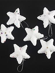 moda alegre estrelas White Christmas da neve para o Natal decoração do partido 6 pcs