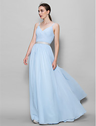 LAN TING BRIDE Floor-length Chiffon Bridesmaid Dress - A-line Straps with Criss Cross