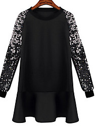 A-plus Women's Patchwork Black Dresses , Casual Round Long Sleeve