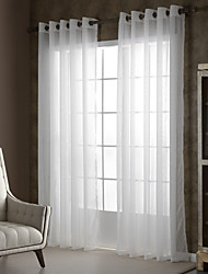 Two Panels White Solid Sheer Curtains Drapes