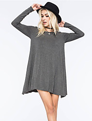 Women's Solid Color Blue / Gray T-Shirts , Bodycon Round Long Sleeve