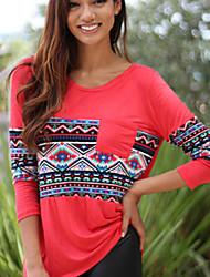 Mulheres Camiseta Decote Redondo Manga Longa Bolso Algodão Mulheres
