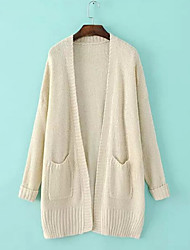 Women's Solid Blue / Brown / Almond Cardigan , Casual Long Sleeve