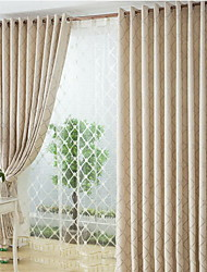Two Panels European  Elegant Fashion High-Grade Flax Chenille Jacquard Curtains