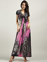 Women's Boho Sexy Beach Casual Party Work Plus Size Short Sleeve Leopard Print Party Maxi Dress