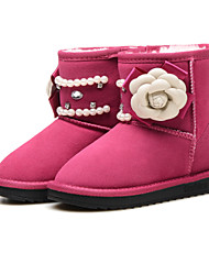 Girl's Boots Winter Comfort Suede Casual Flat HeelRhinestone Feather Beading Sequin Imitation Pearl Satin Flower