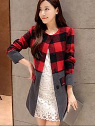 Women's Slim Plaid Coat