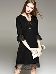 Women's Elegant Sexy Sweetheart Neckline  Dress , Organza / Cotton Blends Knee-length ¾ Sleeve Flare sleeve