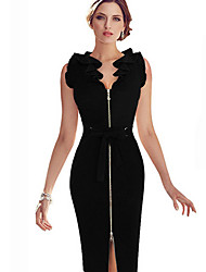 Women's Party / Cocktail / Work Solid Bodycon Dress , V Neck Knee-length Cotton