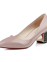 Women's Shoes Leatherette Chunky Heel Heels / Closed Toe Heels Wedding / Office & Career /Casual Black / Pink / Red