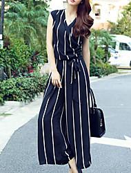 Femme Boot Cut Ample Combinaison-pantalon,Sexy Travail Couleur Pleine Col en V Sans Manches Taille Normale Micro-élastique Eté