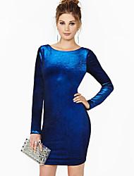 Women's Bodycon Bateau Backless Long Sleeve Dress ,