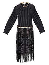 Women's Lace Black Dresses , Casual Round Long Sleeve