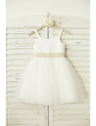 A-line Knee-length Flower Girl Dress - Tulle / Sequined Sleeveless Straps with