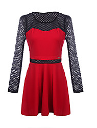 Women's Solid Color Red / Black Dresses , Casual Round Long Sleeve