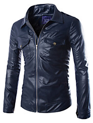 Men's European Style Double Pocket Motorcycle Leather Jacket , Without Lining