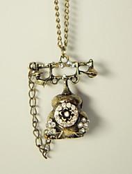 Vintage Telephone Shape Alloy Pendant Necklace (1 Pc)