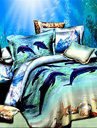 Duvet Cover Set,3D Oil Painting Bedding Set  4pcs Comforter Duvet Covers Bed Sheet Bedclothes Set with Dolphin Pattern