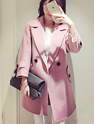 Women's Solid Pink / Yellow All Match Temperament Large Size Coat , Casual / Work Long Sleeve Tweed