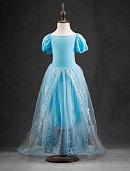 Robe Fille de Jacquard Polyester / Organza Eté Bleu