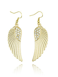Fashion Jewelry Gold Rhinestone Feather Drop Earring