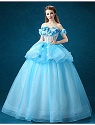 Formal Evening Dress - Sky Blue Ball Gown Off-the-shoulder Floor-length Organza
