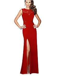 Women's Lace Red / Black Dresses , Lace / Party Round Sleeveless