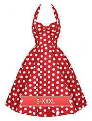 Women's Vintage 1950's Prom Polka Dot A-line Halter Swing Dress