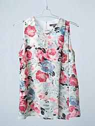 Lady's Fashion Flower Print Chiffon Sleeveless Blouse, for Spring, Summer and Autumn