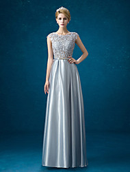 Formal Evening Dress Sheath / Column Jewel Floor-length Lace / Satin with Bow(s)