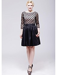 Cocktail Party Dress - Black A-line Scoop Knee-length Taffeta / Tulle