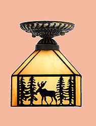 E27 220V 20*17CM 3-10㎡Christmas European Rural Creative Arts Stained Glass  Absorb Dome Lamp Led Light