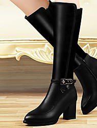 Women's Shoes Synthetic Chunky Heel Snow Boots / Fashion Boots / Motorcycle Boots Boots Party & Evening / Casual Black
