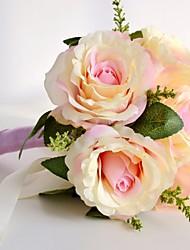 Vintage Ivory Peach 7 Heads Wedding Flowers Rose Bouquet Round Shape