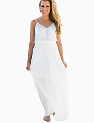 Women's Patchwork White / Black Dress , Sexy / Maxi V Neck Sleeveless