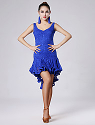 High-quality Lace with Draped Latin Dance Dresses for Women's Performance (More Colors)