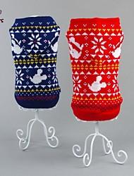Gatos / Cães Súeters Vermelho / Azul Roupas para Cães Inverno Floco de Neve Casual / Ano Novo