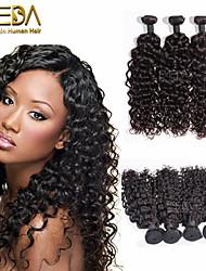 3pcs / lot vierge onde de l'eau de cheveux brésilien Extensions de cheveux humains naturel cheveux noirs boucle 8 '' - 30 '' tisse les