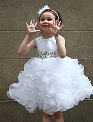 A-line Knee-length Flower Girl Dress - Organza / Satin Sleeveless Jewel with
