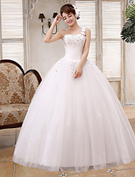Ball Gown Wedding Dress Floor-length One Shoulder Lace / Satin / Tulle with Flower / Sequin
