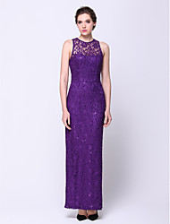 TS Couture Prom Formal Evening Dress - Elegant Sheath / Column Jewel Ankle-length Lace with Lace