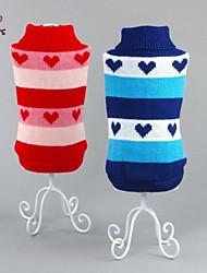 Katzen / Hunde Pullover Rot / Blau Hundekleidung Winter Herzen Lässig/Alltäglich