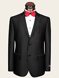 Men's Fit Notch Single Breasted Two-buttons Wool 2 Pieces Black  Formal Bridegroom Groomsmen Slim Suits