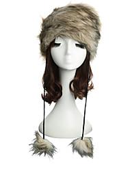 Women Winter Hat Faux Fur Pompom Russian Cossack Style Ski Smow Brimless Skullies Beanies Hat