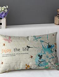 50cm*30cm Birds & Flowers Cotton / Linen Cotton&linen Waist Pillow Cover / Throw Pillow With No Insert