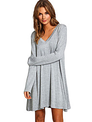 Casual Women's V-Neck Long Sleeve Loose-Fitting Solid Color Dress