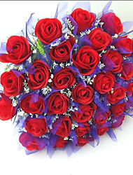 36 Heads Signature Long Stem Red Rose Alstro Bouquet, Home Office Decoration